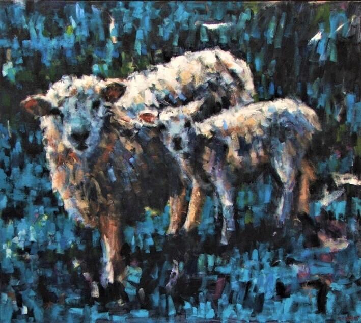 Ewe and Lamb, Blue