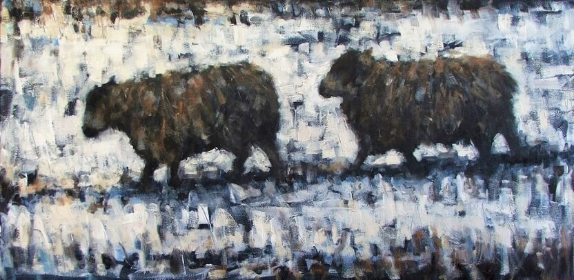 Two Sheep, Snow