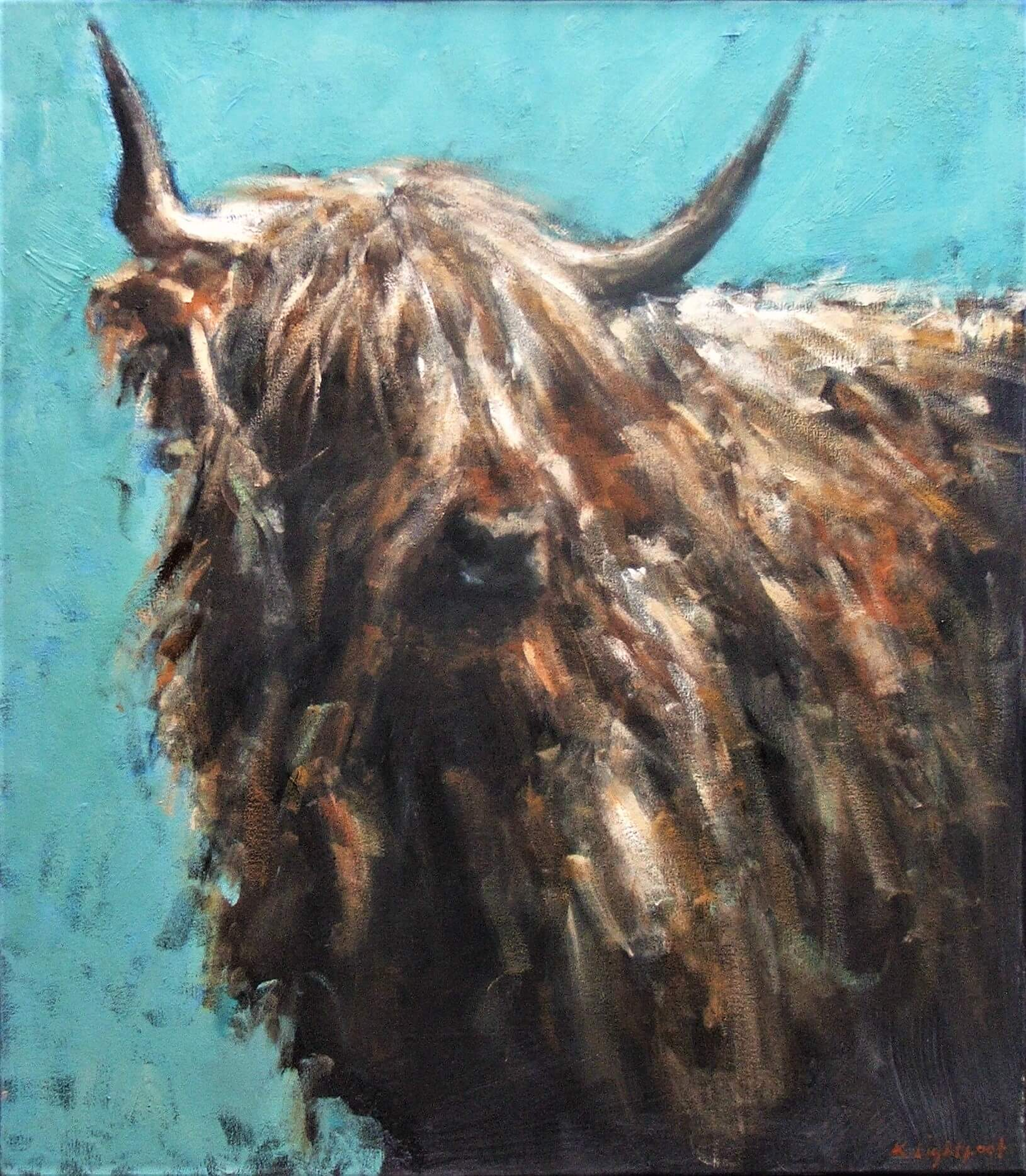 Highland Cow, Turquoise